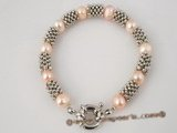 pbr198 extraordinary 8-9mm pink cultured potato pearls bracelet in wholesale