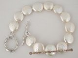 pbr200 wholesale White 12-13mm freshwater coin pearl bracelet