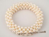 pbr201 Elegance 4-5mm white cultured pearl flexible bracelet in wholesale