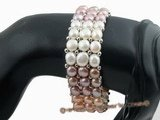pbr243 Hand knitted multicolor Freshwater Pearl stretch bracelet in triple strand