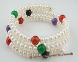 pbr258 Triple rows 6-7mm white button pearls wire bangle bracelet