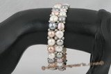 pbr278 Double strands colorful bread Pearl stretch bracelet
