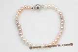 pbr355 4-5mm freshwater pearl bracelet of mix color potato pearls