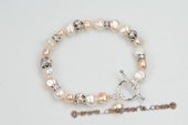 pbr371 Classic Hand knotted Nugget pearl Sterling Silver Bracelet