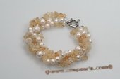 pbr374 Hand knotted Potato pearl Bracelet with Topaz Beads
