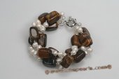 pbr375 Hand knotted Dancing Pearl and Tiger eye's Bracelet