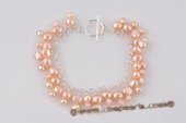 pbr379 Hand Carfted Sterling Silver Overlay Pink Pearl Bracelet