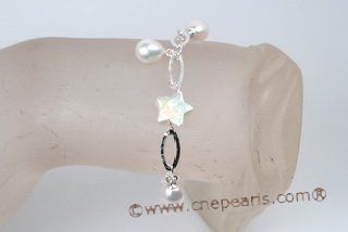 pbr385 Dazzling Hand Crafted Sterling Silver Cultured Pearl Bracelet