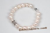 Pbr387 Enchanting Hand Knotted 8.5-9.5mm Potato Pearl Bracelet