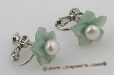 pe014 Adorable 5.5-6mm pearls set on jade flowers tray with silver CLIP  Earrings