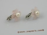 pe015 Adorable 5.5-6mm pearls set on rose quartz flowers tray with silver CLIP  Earrings