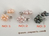 pe048 wholesale Sterling 9mm cluster flower seed pearl stud earring
