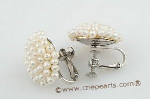 pe057 Stylish non-pierce cluster flower seed pearl plated silver screwback earring