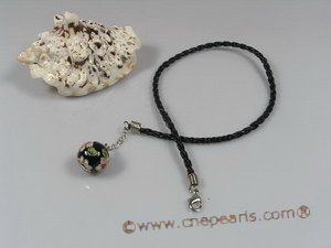 petc014  Elegant black cloisonne beads black braid pet necklace