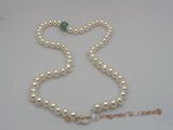 pn002 7-8mm  white button shape pearls & jade necklace