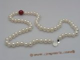 pn003 7-8mm  white button shape pearls & jade necklace