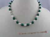 pn008 6-7mm white potato shape pearls & malachite beads necklace