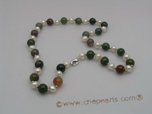 pn009 6-7mm white potato shape pearls &multi-color agate beads necklace