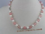 pn010 6-7mm white potato shape pearls & pink watermelon stones beads necklace