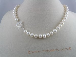 "pn012 8-9mm 16"" potato shape pearl necklace with  sterling silver heart shape clasp"