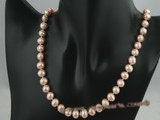 pn015 8-9mm pink cultured potato shape freshwater pearls necklace