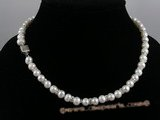 pn022 7-8mm white potato shape pearl necklace with crystal fittings