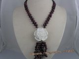 pn024 6-7mm wine red firecracker pearl necklace