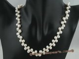 pn029 6-7mm white side-drilled freshwater pearl necklace