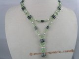 pn032 3-4mm nugget freshwater pearls with green crystal beads Multi-purpose necklace/bracelet