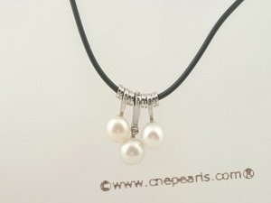 pn034  Black rubber cord chain necklace with 3pcs white pearls
