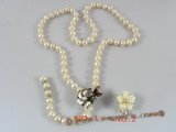 pn042 Charming white potato shape pearl necklace with flower clasp