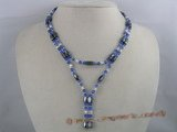 pn048 3-4mm nugget freshwater pearls necklace/bracelet with blue crystal beads