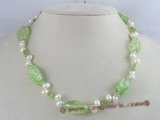 pn053 white side-dirlled cultured pearl necklace with green baroque crystals beads