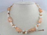 pn054 white side-dirlled cultured pearl necklace with saffron yellow baroque crystals beads