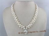 pn062 two rows of nature white bread pearl necklace with cross pendant