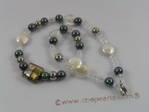 pn065 12mm white coin pearl necklace with faceted crystal beads