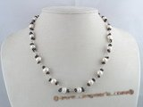 pn078 white 7-8mm potato pearls single necklace with garnets beads