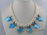 pn079 handcraft knitted 6-7mm white and black potato pearl bridal & wedding necklace with blue cat eyes beads