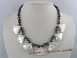 pn086 7-8mm black potato shape pearl necklace with fanlike white shell