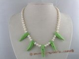 pn087 7-8mm white potato shape pearl necklace with capsicum shape green turquoise