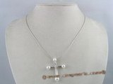 pn095 Cubic Zirconia Cross pearl Pendant Necklace