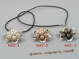 pn098 black cultured pearl with flower design stering tray pendant necklace