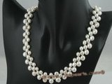 pn163 Three rows of nature white gradual change bread pearl necklace