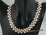 pn164 Three rows of nature pink gradual change bread pearl necklace