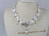 pn178 6*17mm white biwa pearl single strand necklace decorate with crystal beads