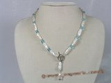 pn179 6*17mm stick biwa pearl  necklace decorate with crystal beads
