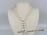 pn182  7-8mm white potato shape pearl Y style necklace with 12mm shell pearl beads