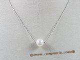 pn183 8-9mm white round pearl with steling silver chain necklace