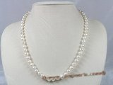 pn185 7-8mm white potato fresh water pearl single necklace