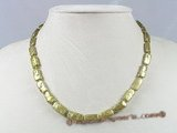pn186 7*13mm olive green long dirlled biwa fresh water pearl necklace